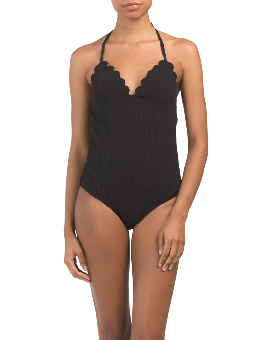 black scalloped edge one piece front 29.99