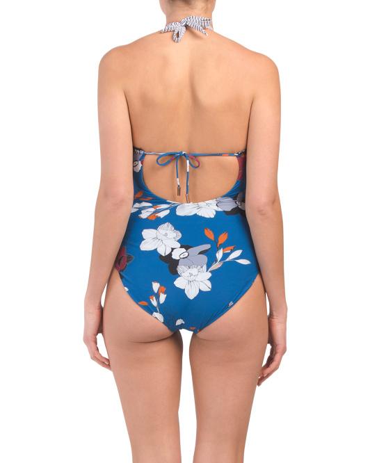 blue floral halter neck one piece back 39.99