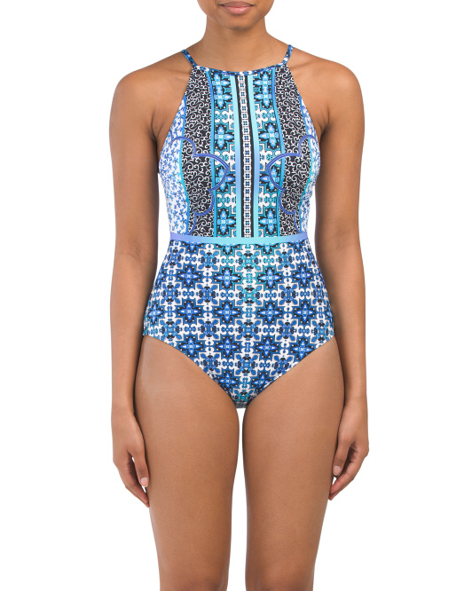 blue printed one piece 29.99