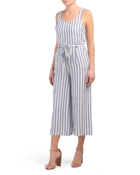 blue striped linen jumpsuit 34.99