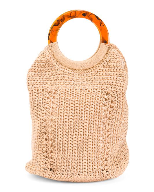 hand held crochet tote 24.99