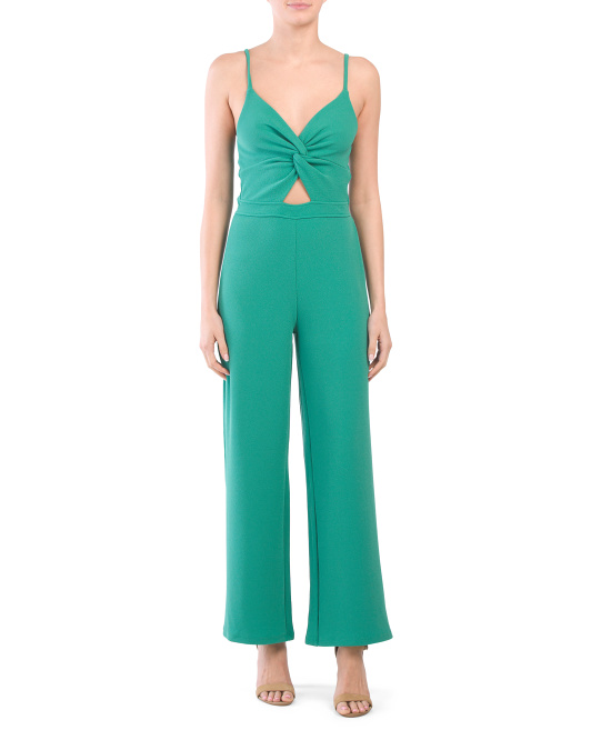 knot front cami jumpsuit green 16.99