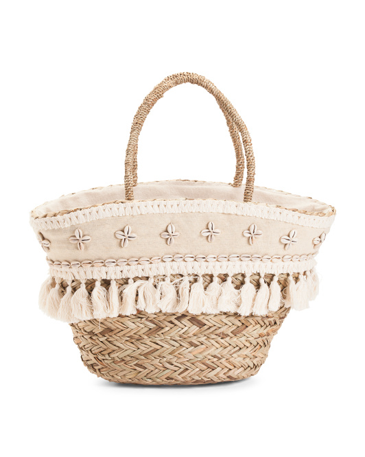 Large Fringe Straw Tote With Shells 24.99