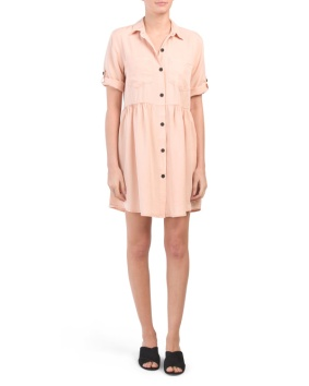 peach button down dress 24.99