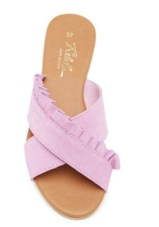 purple ruffle sandal