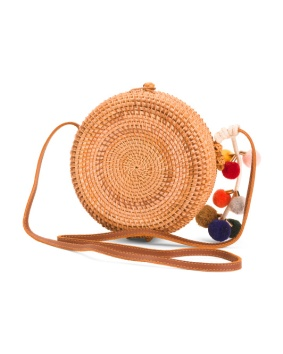 rattan cross body bag with pom poms 29.99