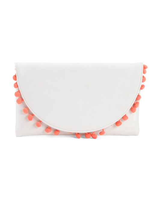 white and coral pom pom clutch 12.99