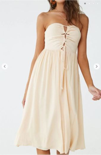 beige lace up midi dress.JPG