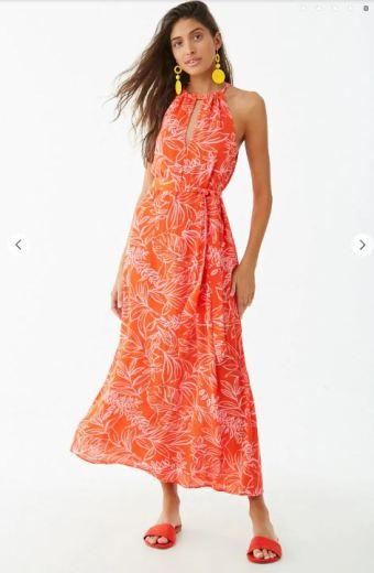 red floral maxi dress f21