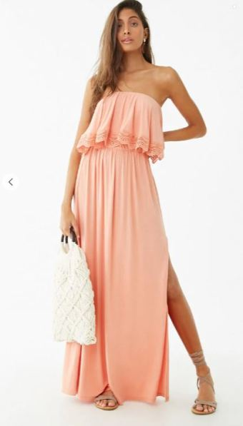 strapless coral maxi dress